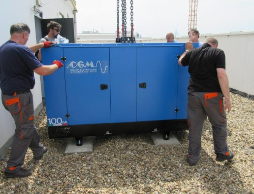 Delivery and installation of diesel electric generator on the rooftop of a building